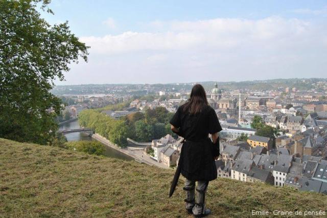 Namur vue de la Citadelle lors d'un repérage d'un site d'entraînement pour des combats médiévaux.